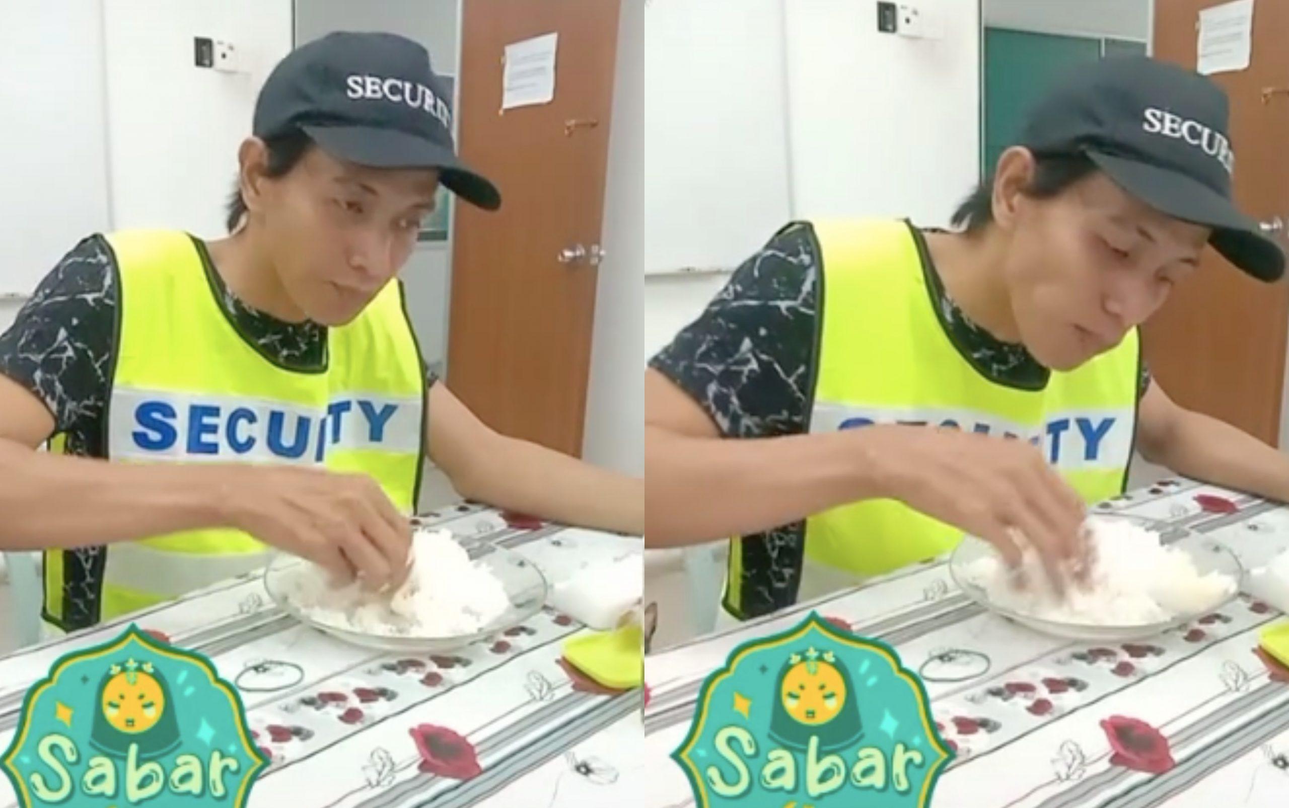 Makan Nasi 'Lauk' Garam, Netizen Tersentuh Lihat Menu Pengawal Keselamatan Ini 3
