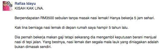 Berpendapatan RM3500 sebulan tanpa masak nasi lemak! Hanya bekerja 5 jam sehari4